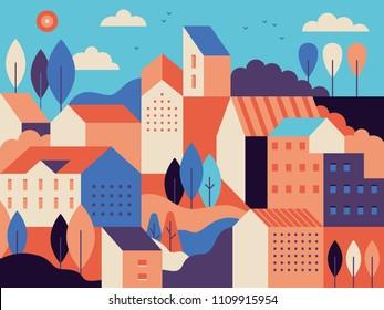 住宅街 イラスト のイラスト素材画像ベクター画像 Shutterstock