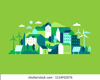 Vector illustration in simple minimal geometric flat style - city landscape with buildings, hills and trees with solar panels and wind turbines  - eco and green energy concept - abstract background