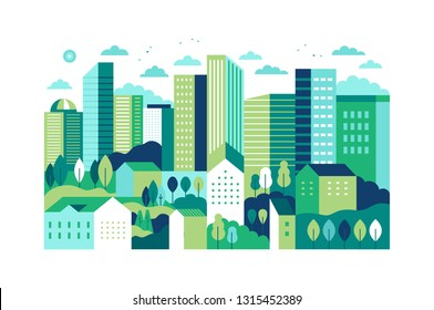 Vector illustration in simple minimal geometric flat style - city landscape with buildings, hills and trees - abstract background for header images for websites, banners, covers