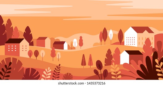 Vector illustration in simple minimal geometric flat style - autumn city landscape with buildings, hills and trees - abstract horizontal banner and background with copy space for text - header images