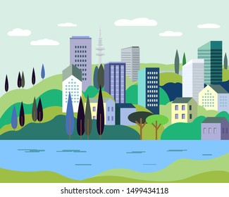 Vector illustration in simple minimal geometric flat style - cityscape with buildings, hills, sea and trees - abstract background for header images for websites, banners, covers.