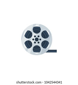 Vector illustration, simple reel of film tape  icon isolated on a white background.
