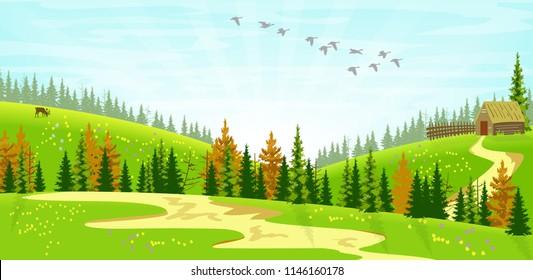 Vector Illustration of a simple spring landscape