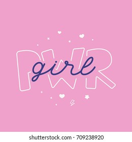 Vector illustration in simple style with hand-lettering phrase girl power - stylish print for poster or t-shirt feminism quote and woman motivational slogan