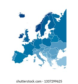 Vector illustration with simplified map of all European states (countries). Blue silhouettes, white outline and background