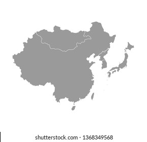 Vector illustration with simplified map of Asian countries. East region. States borders of China, Japan, South and North Korea, Taiwan, Mongoloia. Grey silhouette. White background