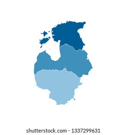 Vector illustration with simplified map of European Baltic states (Estonia, Lithuania, Latvia). Blue silhouettes, white outline and background