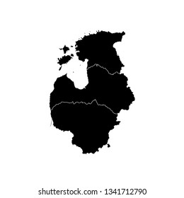 Vector illustration with simplified map of European Baltic states (Estonia, Lithuania, Latvia). Black silhouettes, white outline and background