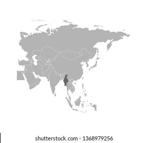 Vector illustration with simplified map of Myanmar - Asian country. States borders on Asian continent. Grey silhouette. White background