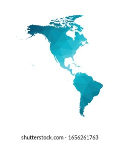 Vector illustration with simplified map of North and South America continent. Blue low poly triangular silhouettes, white background.