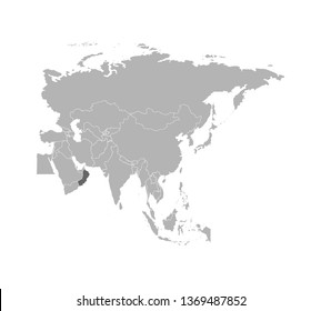 Vector illustration with simplified map of Oman - Asian country. States borders on Asian continent. Grey silhouette. White background