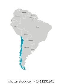 Vector illustration with simplified map of South America continent with blue contour of Chile. Grey silhouettes, white outline of states' border