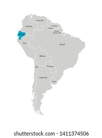 Vector illustration with simplified map of South America continent with blue contour of Ecuador. Grey silhouettes, white outline of states' border.