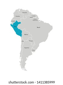 Vector illustration with simplified map of South America continent with blue contour of Peru. Grey silhouettes, white outline of states' border.