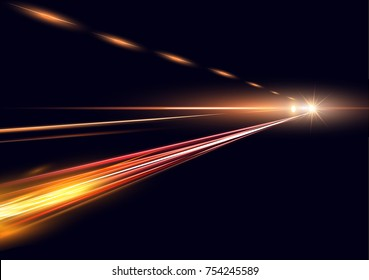 Vector illustration of simulation of night traffic long exposure. High speed lights on black background