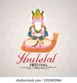 vector illustration, For Sindhi Hindus, Jhulelal is a name that refers to the Ishta Dev, cheti chand ,jhulelal jayanti - Vector