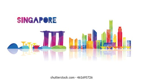 vector illustration Singapore city skyline, the symbols of the city skyscrapers, stylish graphics