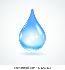 Vector illustration of a single blue shiny drop of water