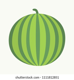 Vector illustration: single circle flat green watermelon icon with stalk and striped green peel in retro style isolated on white background