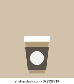 Vector illustration of the single coffee to go cup with blank space for the design. Big copy space on the top of the image.