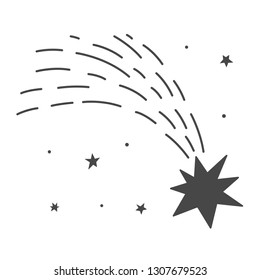 Vector illustration: single flat black and white meteor flyind in sky, stars isolated on white background. Icon for  learning astronomy, astrophysics science, cosmic discovery and astrology service,
