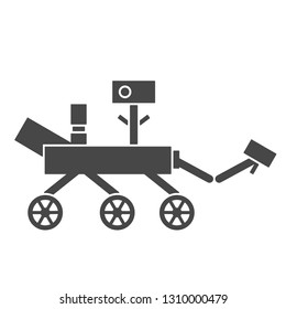 Vector illustration: single flat black and white Mars rover with wheels, camera and antenna isolated on white background. Icon for learning astronomy, astrophysics science and cosmic discovery,