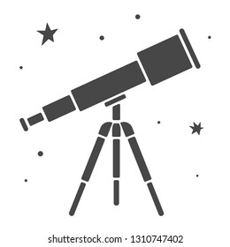 Vector illustration: single flat black and white telescope with stars isolated on white background. Icon for planetarium, observatory, learning astronomy, astrophysics science and cosmic discovery,