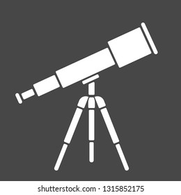 Vector illustration: single flat black and white telescope with tripod isolated on black background. Icon for planetarium, observatory, learning astronomy, astrophysics science and cosmic discovery,
