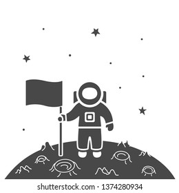 Vector illustration: single flat black astronaut does a new planet discovery in cosmos with stars isolated on white background. Icon for learning astronomy, astrophysics science and cosmic discovery,