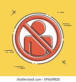 """Vector illustration of single isolated icon depicting """"access forbidden concept"""""""