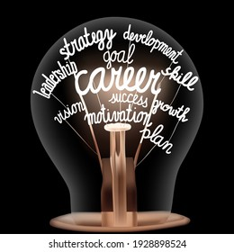 Vector illustration of single light bulb with shining fibers in a shape of Career, Motivation, Plan, Strategy, Goal, Skill and Development concept related words isolated on black background