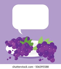 Vector illustration of the single plate of organic purple grapes on purple background. Big copy space on the top of the image.