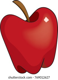 Vector illustration of a single red apple