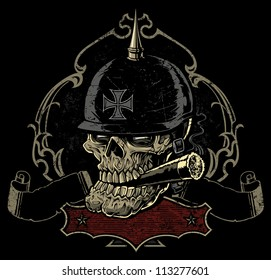 Vector illustration of a sinister looking old biker skull smoking a cigar in front of an ornate retro spade frame, two worn, tattered banners, and an extra frame for copy below.