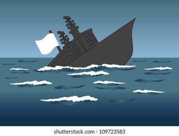 Vector illustration sinking ship