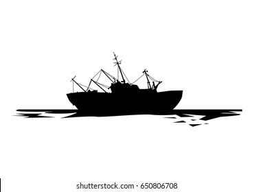 vector illustration of sinking ship