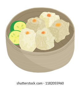 Vector illustration of siomai dimsung sticky pot dumplings in a wooden bamboo steamer