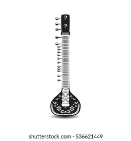 Vector illustration of sitar isolated on white background. Black and white indian string plucked musical instrument.