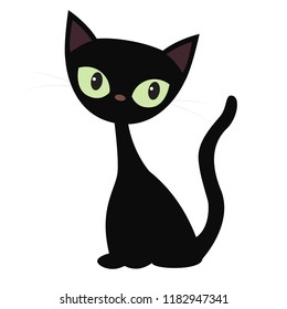 Vector illustration of a sitting black cat