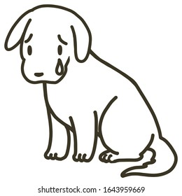 Vector illustration of a sitting dog with tear