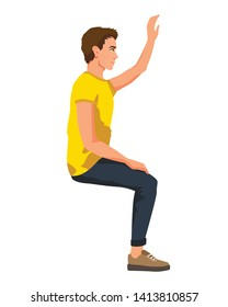 Vector illustration of sitting man with hand up in casual clothes. Cartoon realistic people illustartion. Flat young man. Side view man.