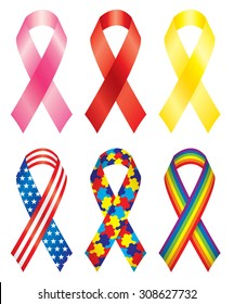 Vector illustration of six awareness ribbons.