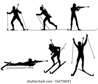 Vector illustration of a six biathletes silhouettes