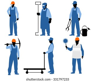 Vector illustration of a six blue silhouettes