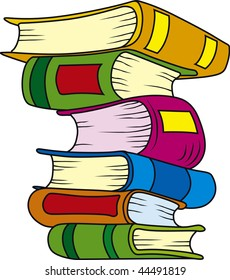 Vector illustration of six books in stack