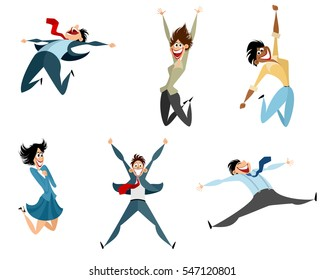 Vector illustration of a six businessmen jumping