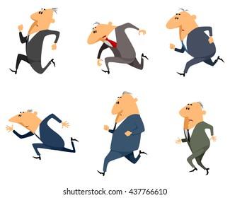 Vector illustration of a six businessmen running