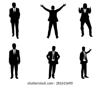 Vector illustration of a six businessmen silhouettes