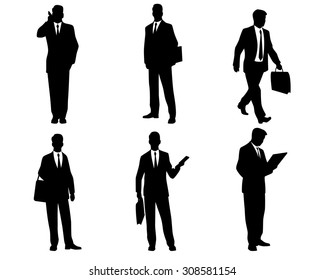 Vector illustration of six businessmen silhouettes
