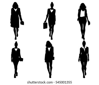 Vector illustration of a six businesswomen going
